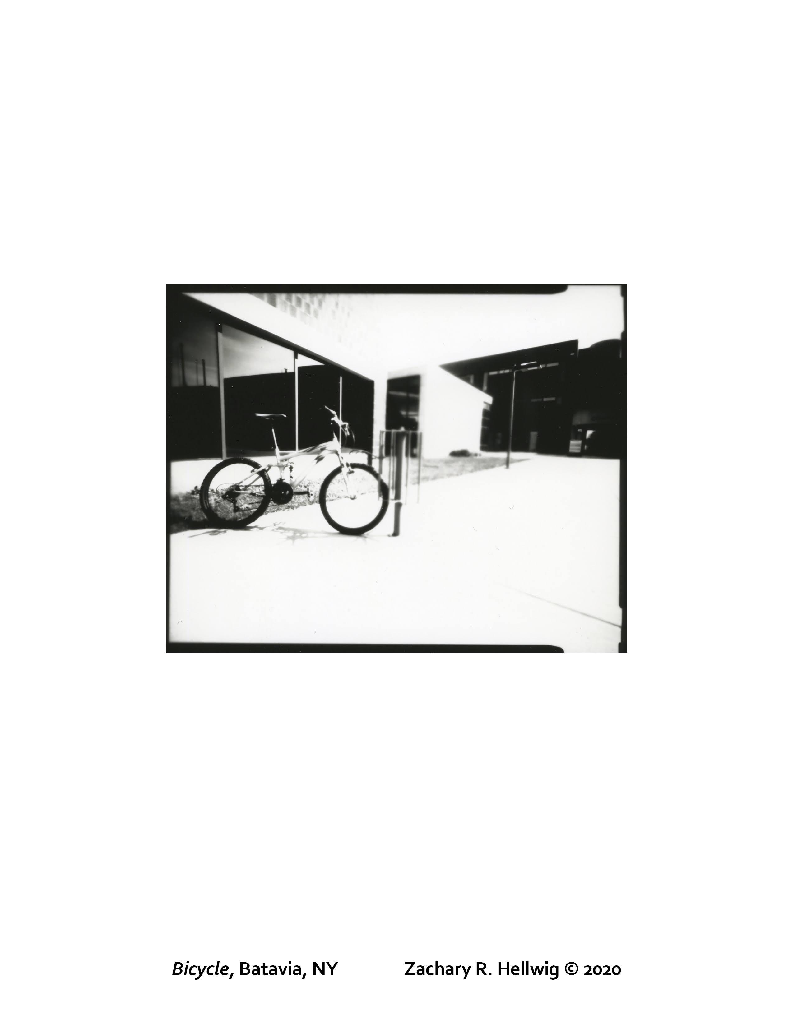Zach Hellwig pinhole print of bicycle outside GCC