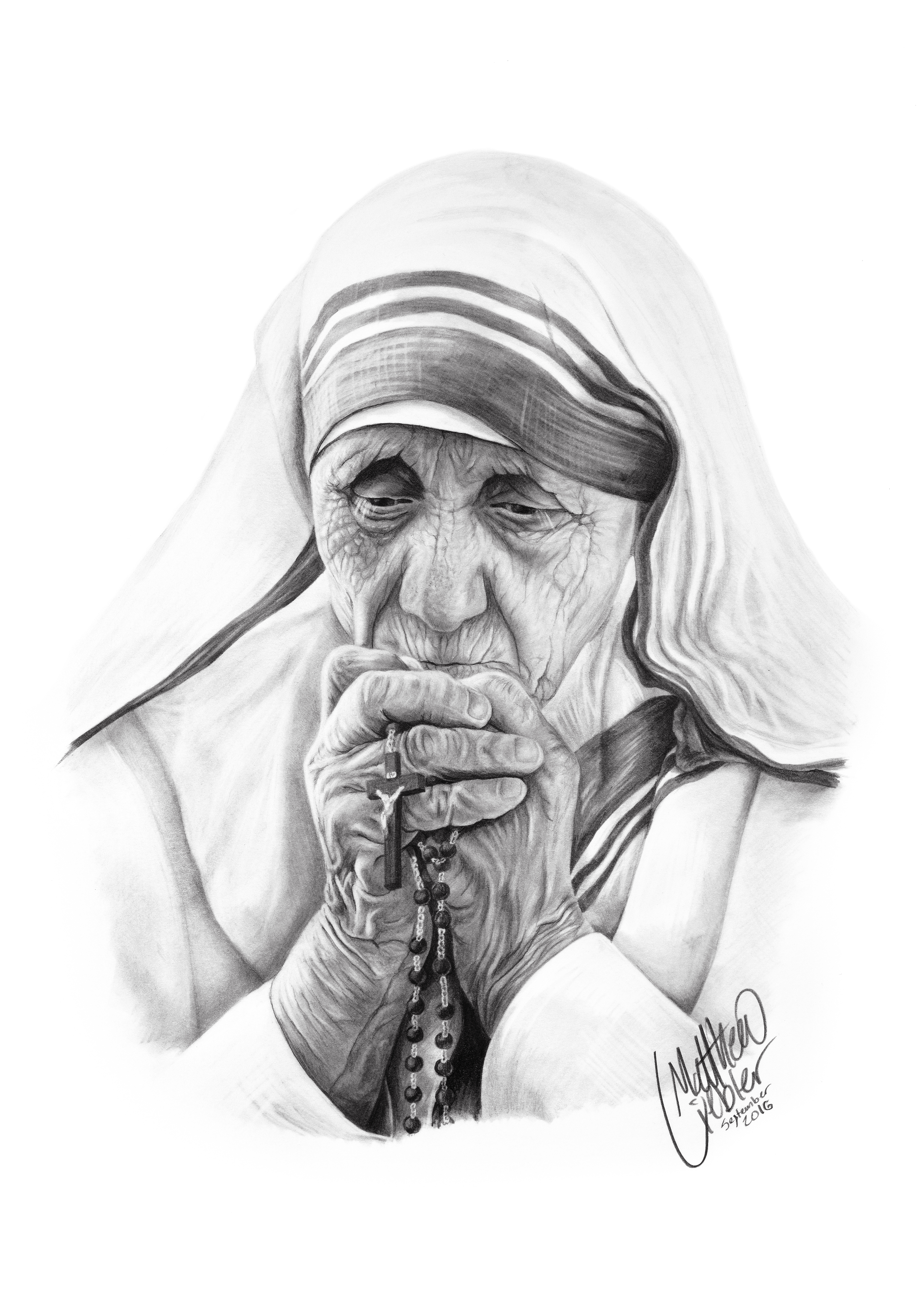 Drawing of a Nun holding a Rosary.