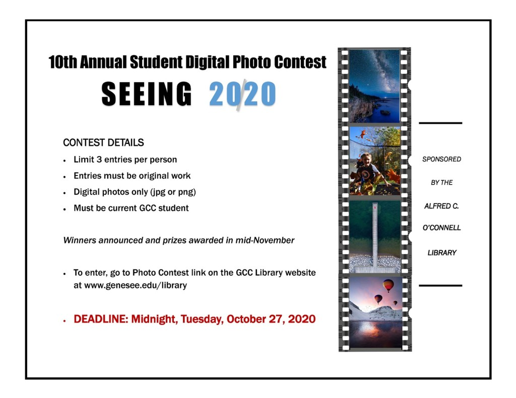 flyer for GCC Library photo contest 2020